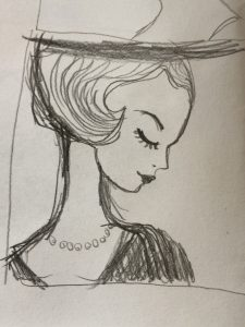 Dekokissen Amelie - Entwurf des Motivs als Bleistiftzeichnung