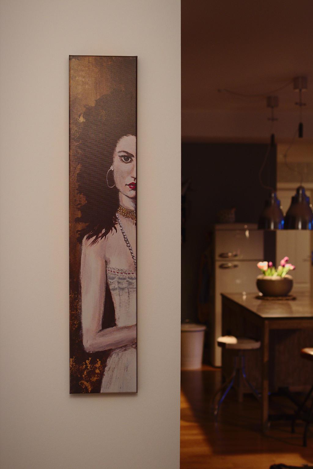 Gina – Original: Acryl auf Leinwand – Kunstdruck: Latex auf Leinwand in Galeriequalität im Ambiente