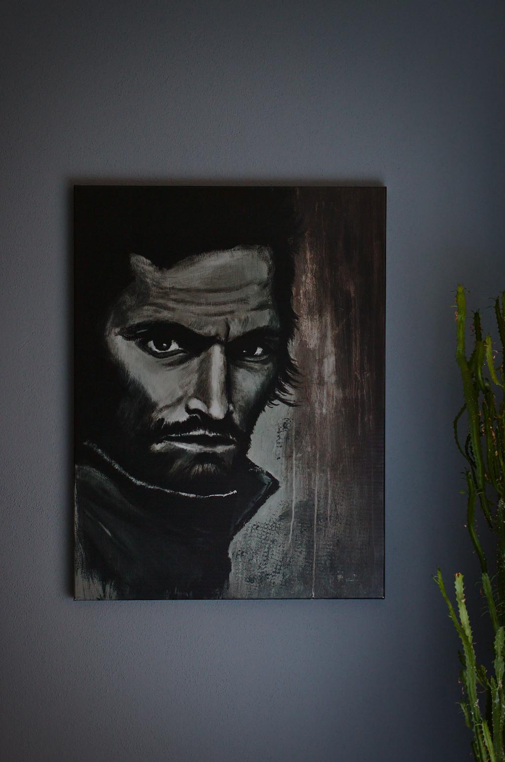 Leonardo – Original: Acryl auf Leinwand – Kunstdruck: Latex auf Leinwand in Galeriequalität im Ambiente